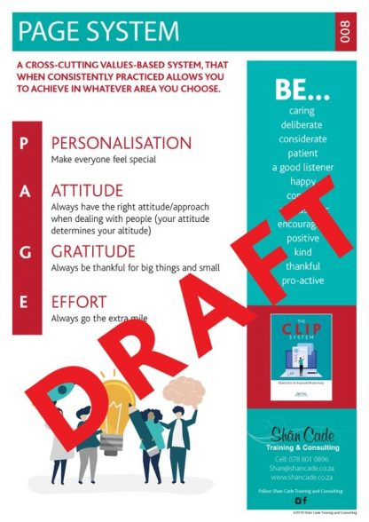 PAGE System poster - work attitudes and core values