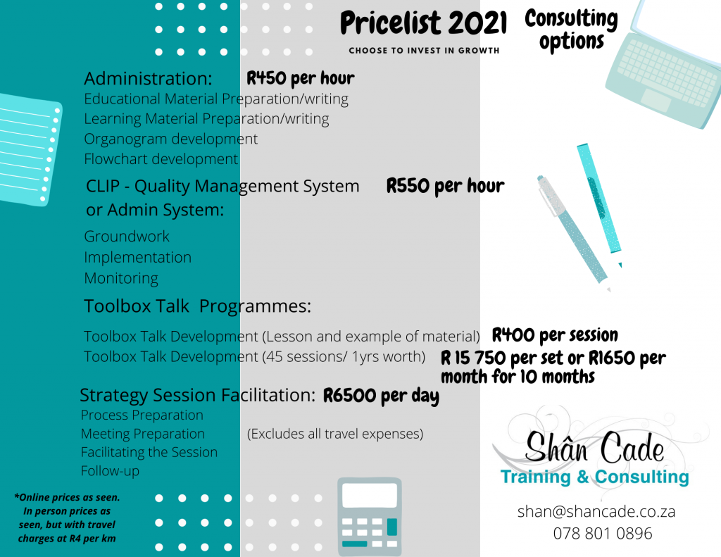 Services price list - Consulting Price list 2021