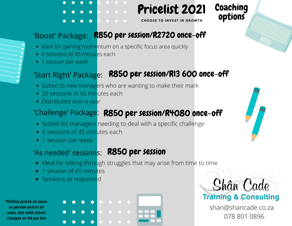 Services price list - Coaching Price list 2021