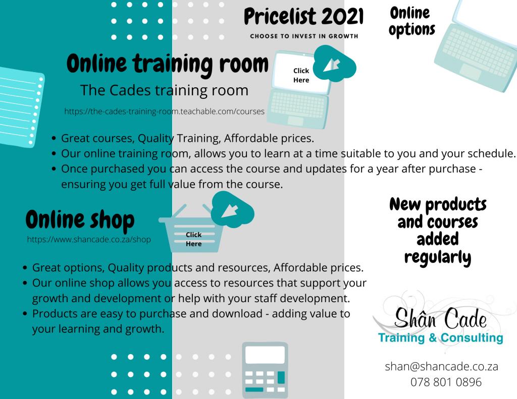 Services price list - Online Options pricelist 2021