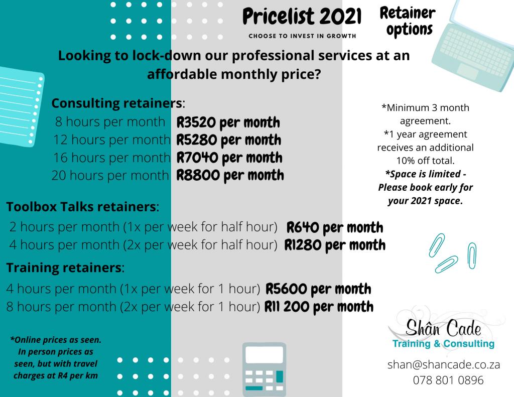 Services price list - Retainer Options Price list 2021