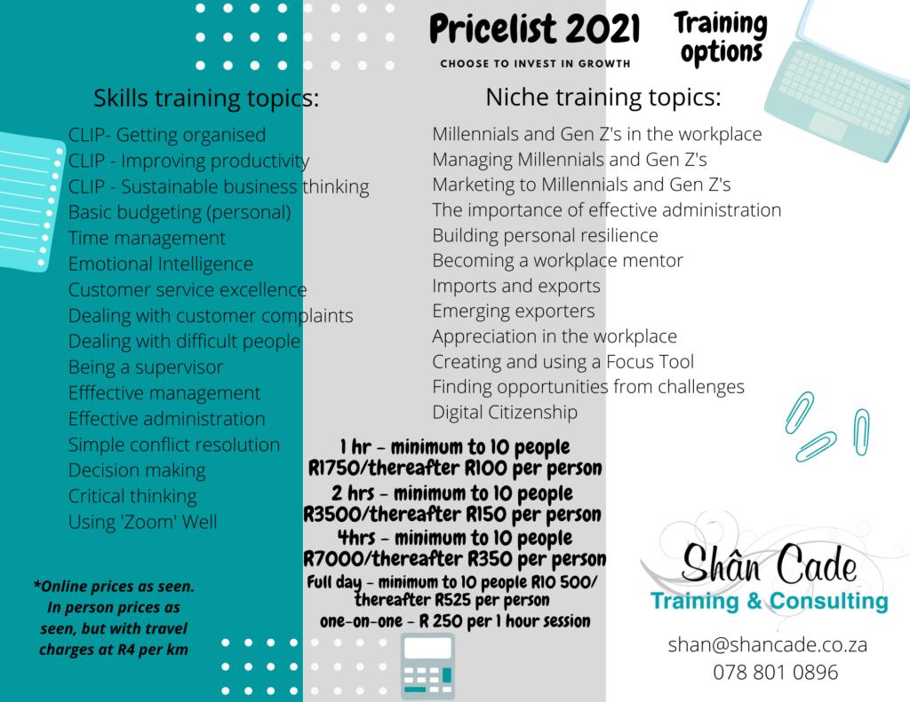 Pricelist 2021 - Training- Shân Cade Training and Consulting